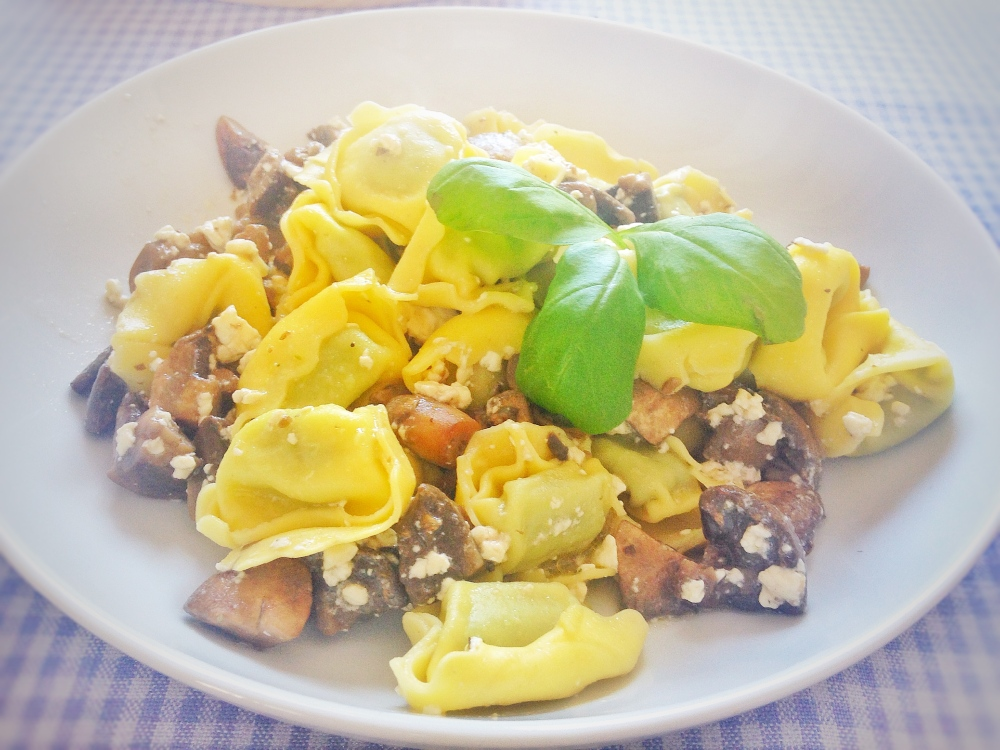 Ricotta Ravioli with Mushrooms and Feta Cheese